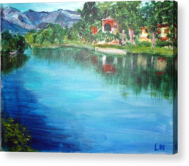 Landscape Acrylic Print featuring the painting the river Adda by Lia Marsman