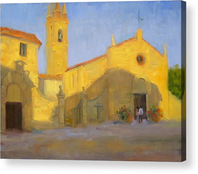 Church Acrylic Print featuring the painting Vespers by Bunny Oliver