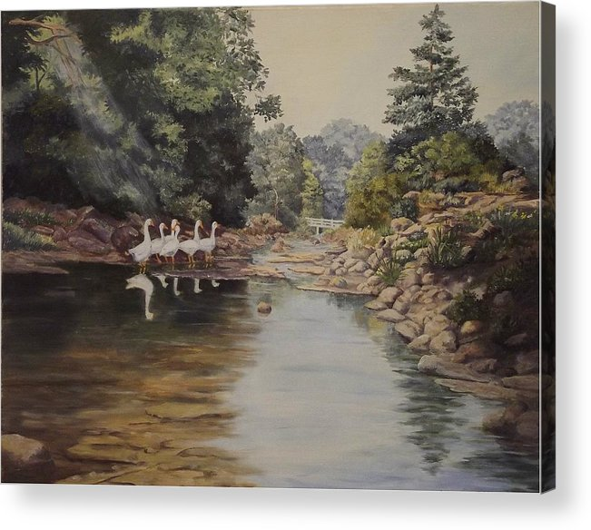 Landscape Acrylic Print featuring the painting Mountain Home Creek by Wanda Dansereau