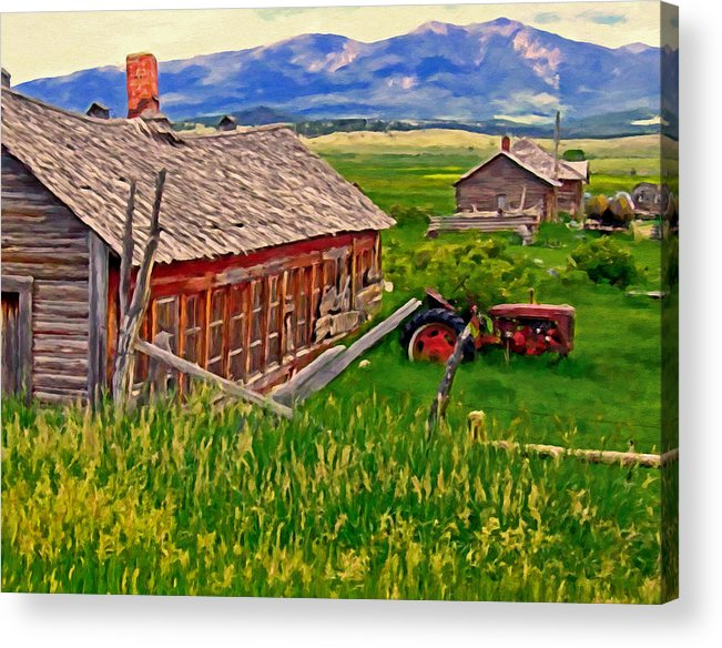 Montana Acrylic Print featuring the painting Old Homestead Near Townsend Montana by Michael Pickett