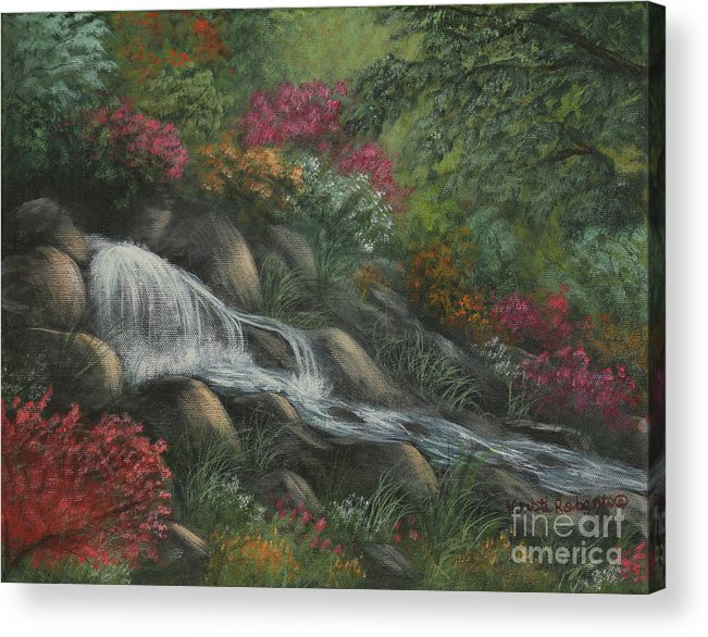 Landscape Acrylic Print featuring the painting Flowing Waters by Kristi Roberts