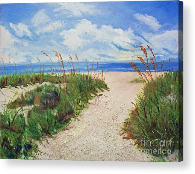 Beach Acrylic Print featuring the painting Walking In The Sand by Judy Ryan