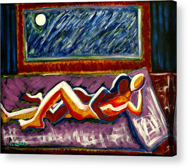 Men Acrylic Print featuring the painting Warmth by Albert Almondia
