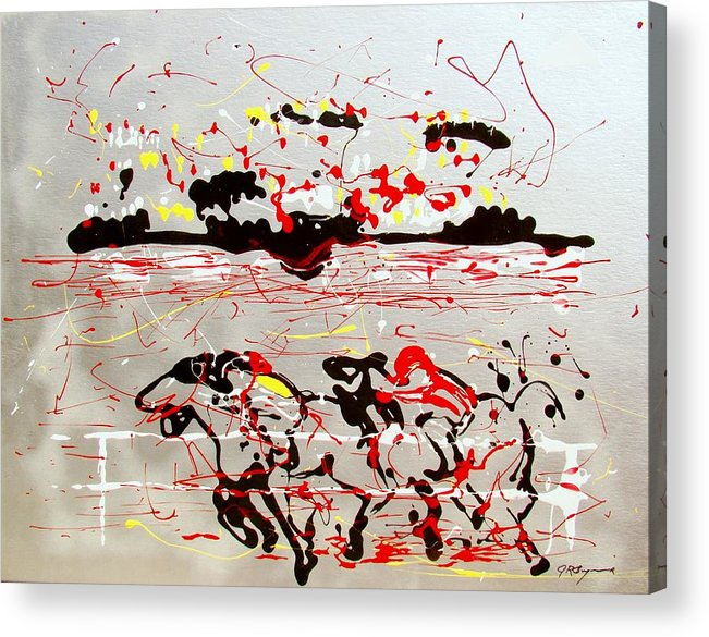 Abstract Acrylic Print featuring the mixed media And Down The Stretch They Come by J R Seymour