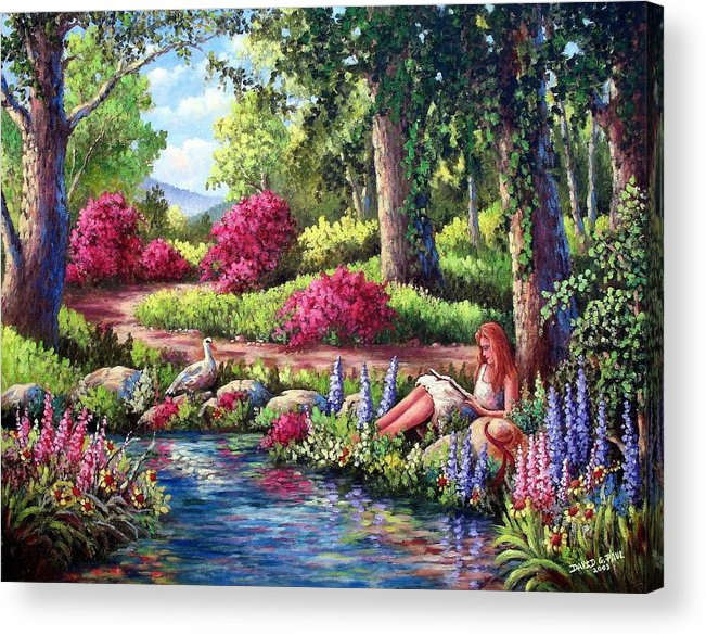 Read Acrylic Print featuring the painting Her Reading Hideaway by David G Paul