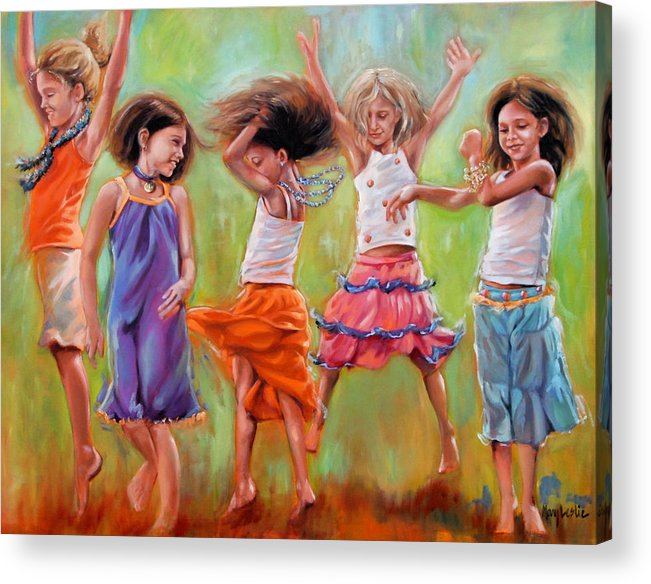 Dancing Girls Acrylic Print featuring the painting Spring Fever by Mary Leslie