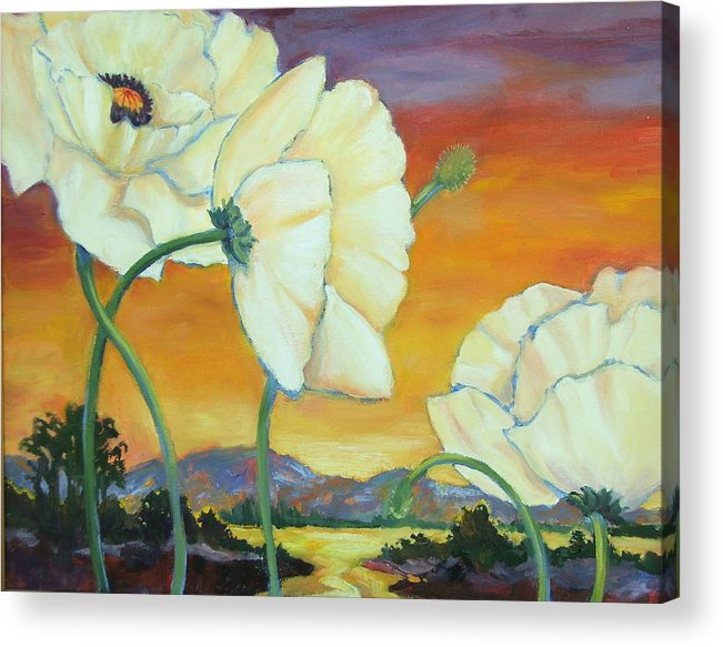 White Poppies Acrylic Print featuring the painting White Poppies Dancing by Dianna Willman