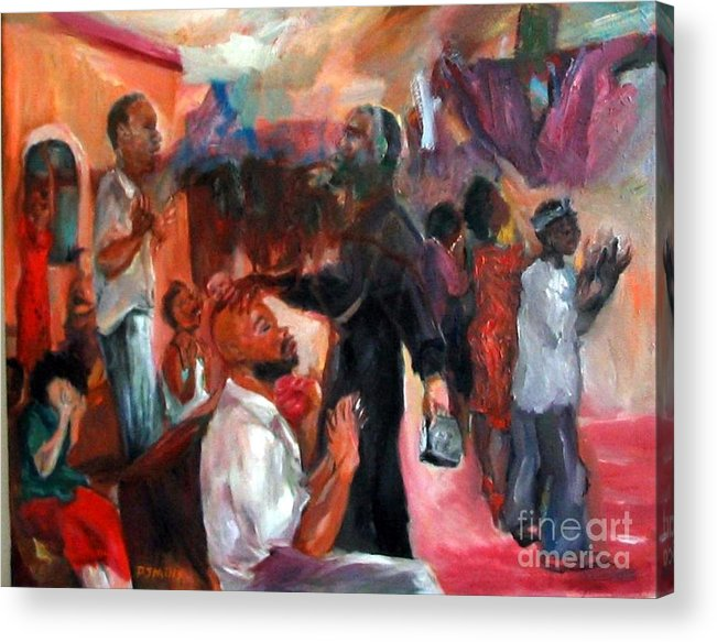 Figures Acrylic Print featuring the painting Xorcising Demons And Saving Souls by Patrick Mills