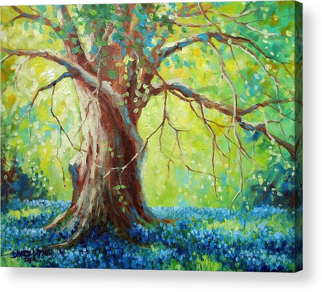 Bluebonnets Acrylic Print featuring the painting Bluebonnets Under The Oak by David G Paul
