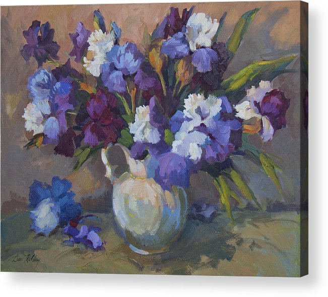 Irises Acrylic Print featuring the painting Irises by Diane McClary