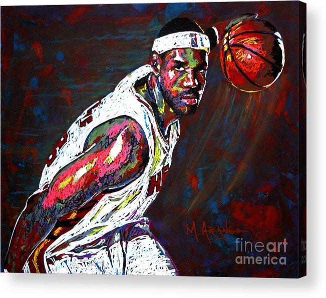 Lebron Acrylic Print featuring the painting Lebron James 2 by Maria Arango