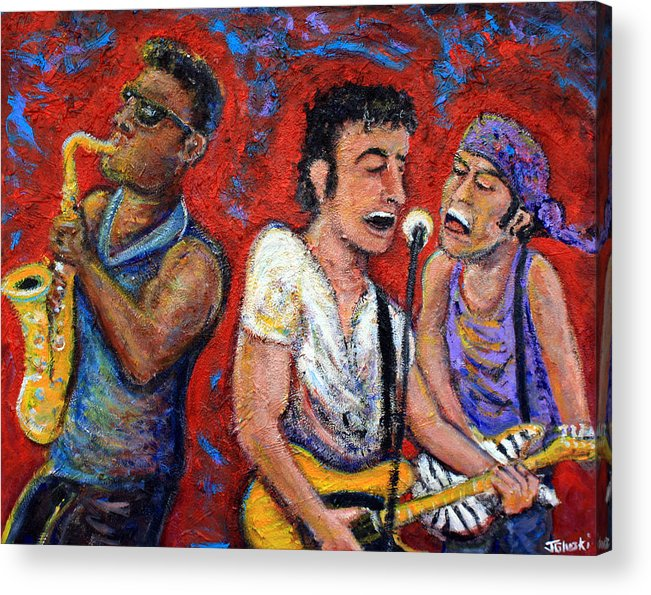 Bruce Springsteen Acrylic Print featuring the painting Prove It All Night Bruce Springsteen And The E Street Band by Jason Gluskin