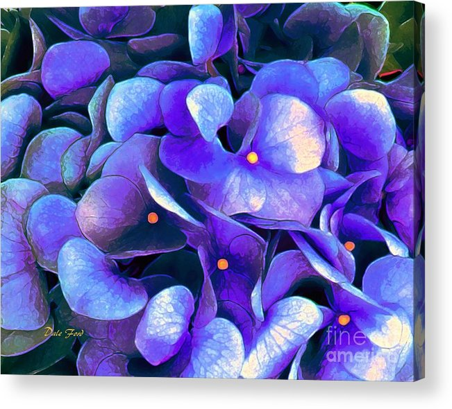 Flowers Acrylic Print featuring the digital art Blue Hydrangeas by Dale  Ford