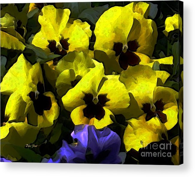 Flowers Digital Art Acrylic Print featuring the digital art Pansy Party by Dale  Ford