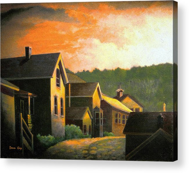 Colorado Mountains Old Houses Sunset New Mexico Sky Giclee Print Acrylic Print featuring the painting Blackhawk Colorado Sunset by Donn Kay