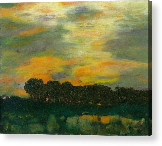 Tonalists Landscape Sky Evening Trees Reflections Acrylic Print featuring the painting Ode To Eaton by Paula Emery