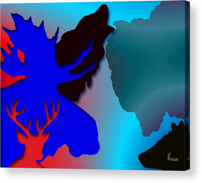 Animal Acrylic Print featuring the digital art Animal Collage -011 by Will Logan