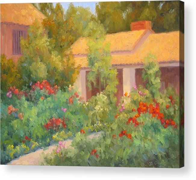 Garden Acrylic Print featuring the painting Basking In Sunshine by Bunny Oliver