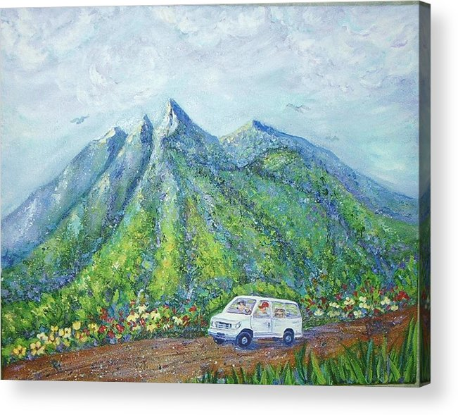 Mountains Acrylic Print featuring the painting Chief And Amigos South Of The Border by Sheri Hubbard