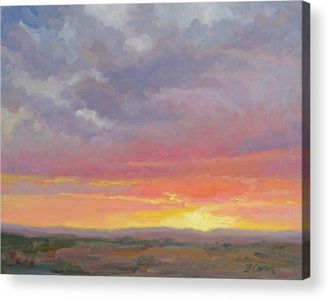 Sunset Acrylic Print featuring the painting Desert Sundown by Bunny Oliver