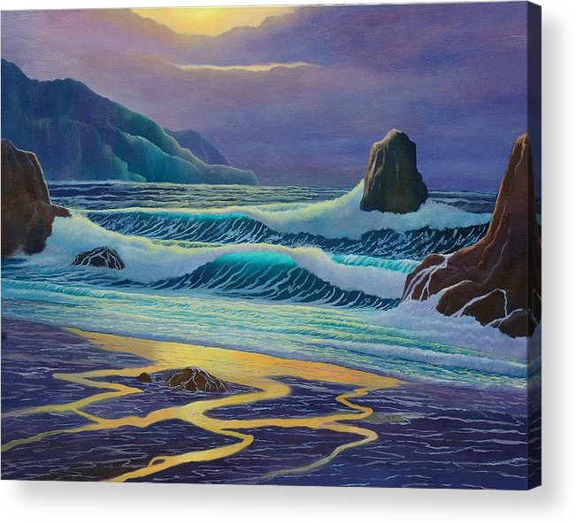 Ocean Acrylic Print featuring the painting Emerald Cove by Mark Regni