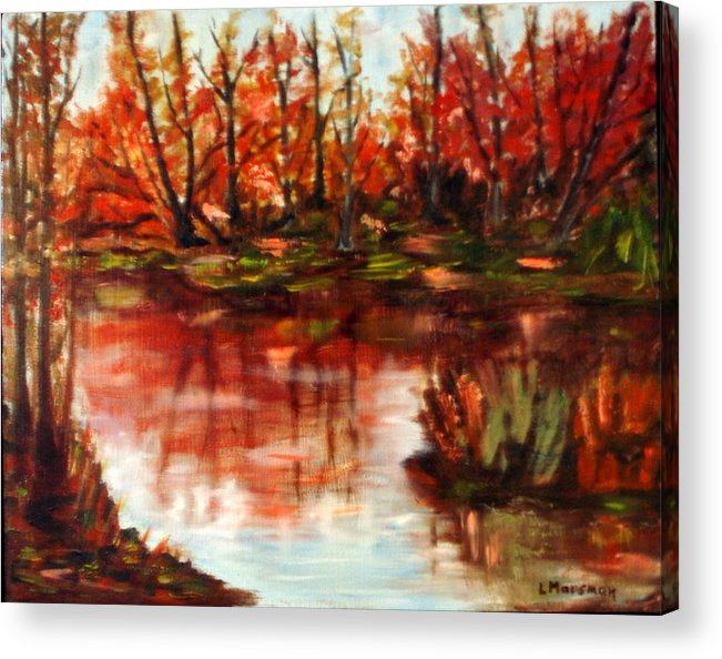 Landscape Acrylic Print featuring the painting Fall Reflections by Lia Marsman