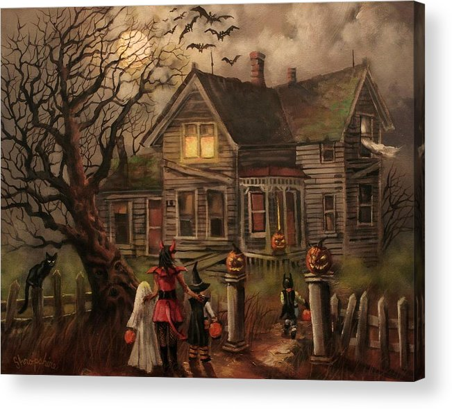 Bats Acrylic Print featuring the painting Halloween Dare by Tom Shropshire