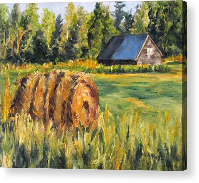 Landscape Acrylic Print featuring the painting Hayroll And Barn by Cheryl Pass
