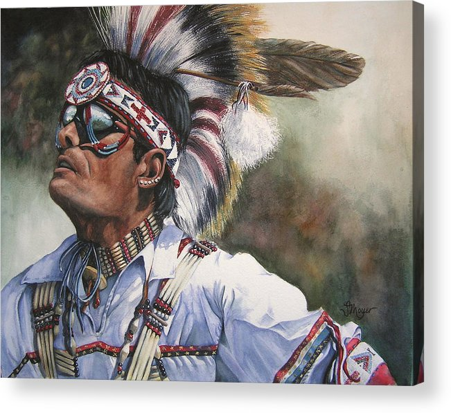 Portrait Acrylic Print featuring the painting He Lives In Two Worlds by Susan Moyer