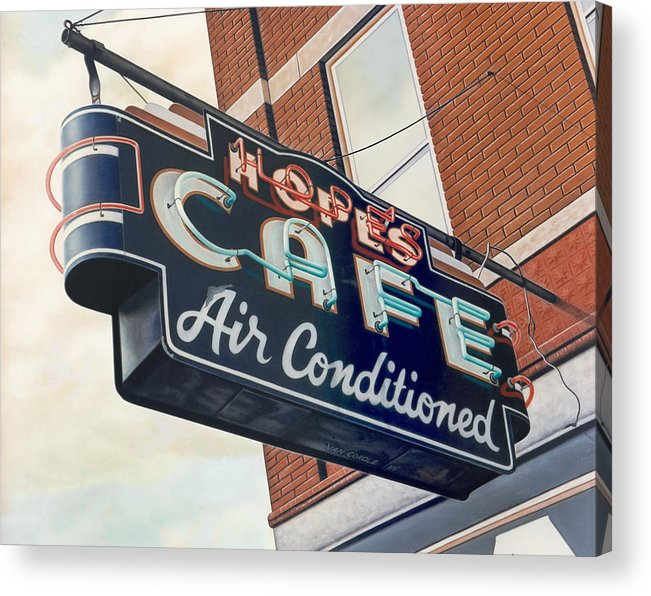 Cityscape Acrylic Print featuring the painting Hope's Cafe by Van Cordle