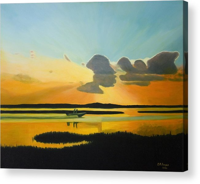 Seascape Acrylic Print featuring the painting Laura's Sunset by Stephen Degan