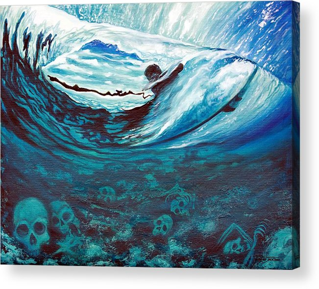 Surf Acrylic Print featuring the painting Live Free Or Die by Ronnie Jackson
