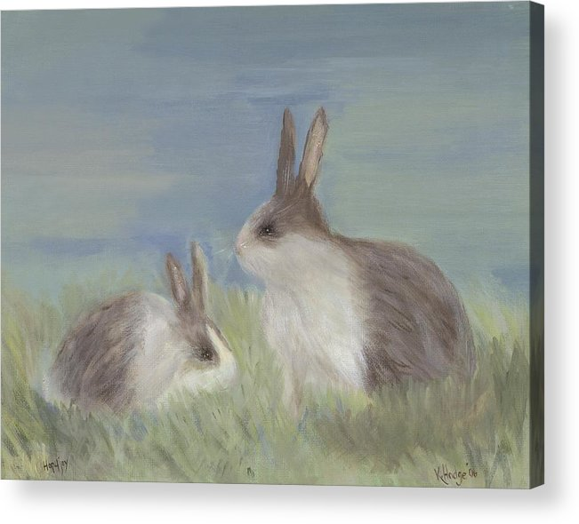 Bunny Acrylic Print featuring the painting Love Buns by Kimberly Hodge