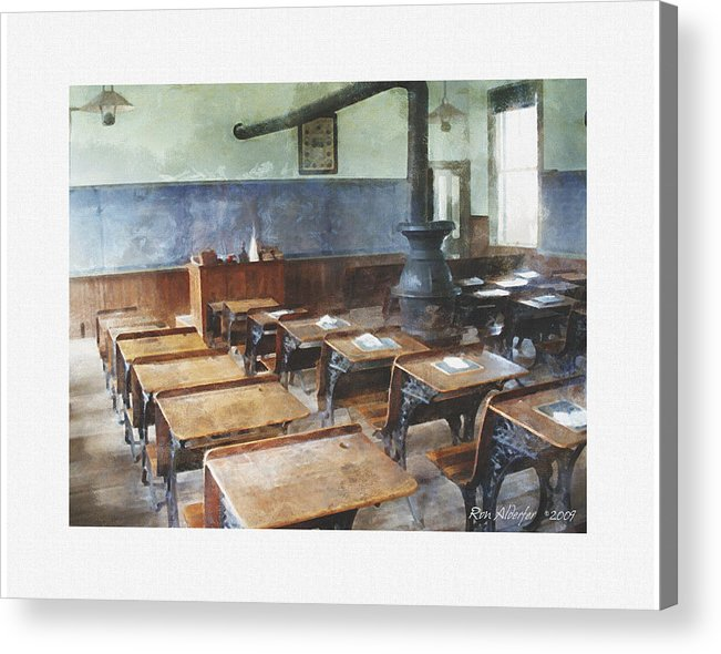 Digital Acrylic Print featuring the photograph One Room School Interior by Ron Alderfer