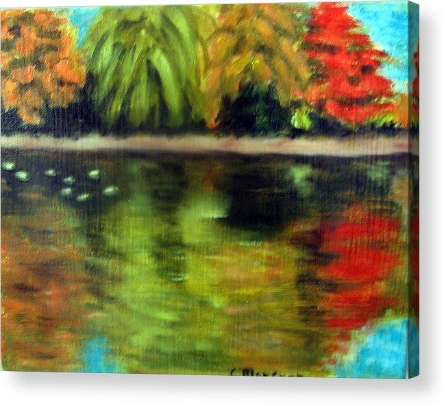 Fall Acrylic Print featuring the painting Pond 2 by Lia Marsman