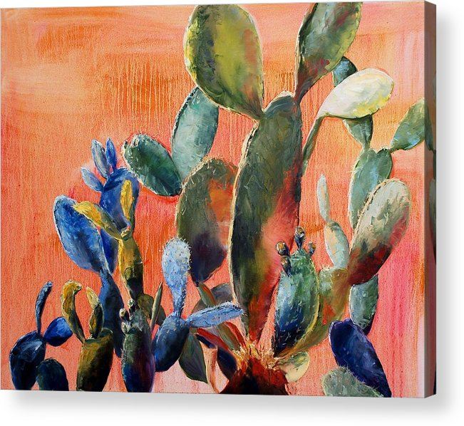 Cactus Acrylic Print featuring the painting Prickly Pear by Lynee Sapere