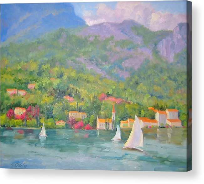 Seascape Acrylic Print featuring the painting Sailing - Lake Como by Bunny Oliver