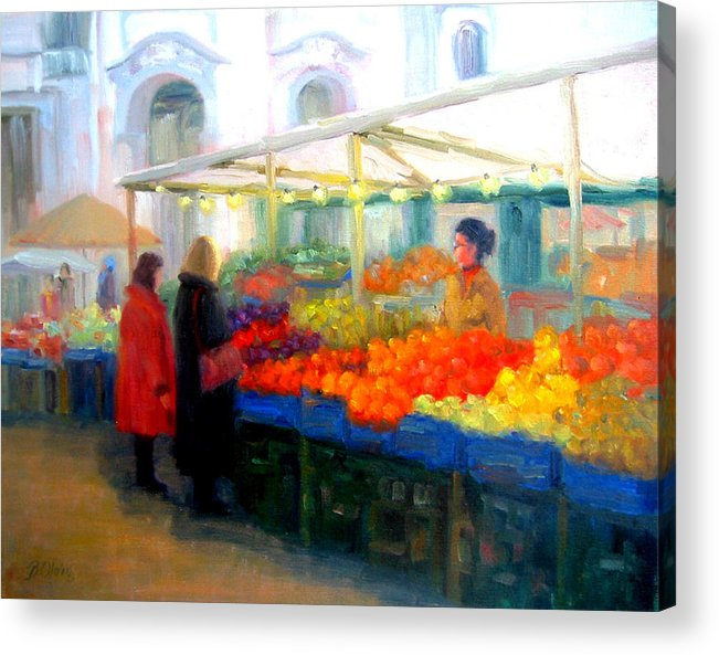 Market Acrylic Print featuring the painting Salzburg Shoppers by Bunny Oliver