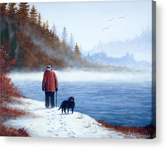 Landscape With Man And Dog Acrylic Print featuring the painting Sojourn by Michael Scherer