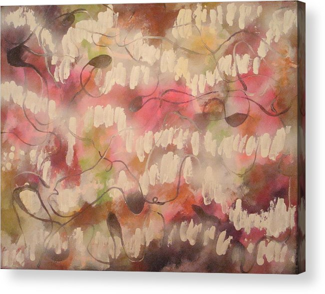 Abstract Pink Acrylic Print featuring the painting Summer Reflection by W Todd Durrance