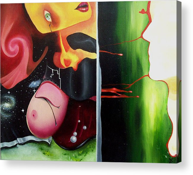 Surreal Acrylic Print featuring the painting The Truth About Beauty by Justin D B