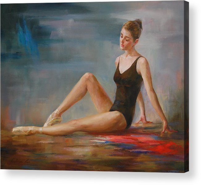 Figuratives Acrylic Print featuring the painting Thinking by Kelvin Lei