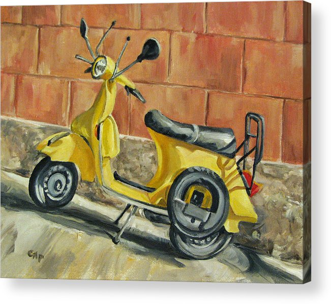 Vespa Acrylic Print featuring the painting Vespa 1 by Cheryl Pass