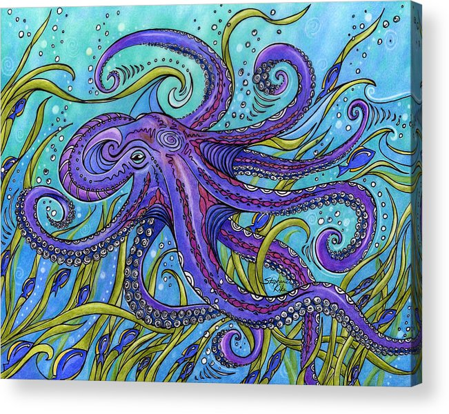 Octopus Acrylic Print featuring the drawing Octopus by Stephanie Kiker