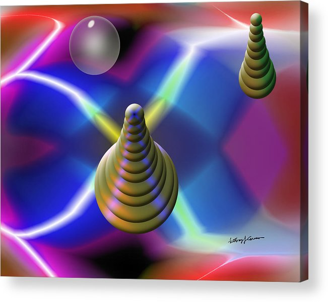 Abstract Acrylic Print featuring the digital art Pinball by Anthony Caruso