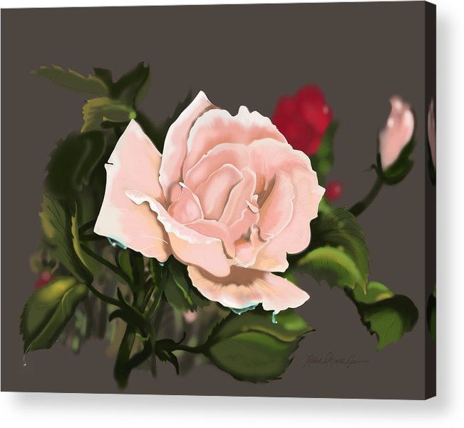 Flower Acrylic Print featuring the digital art Pink by Robert North Jr