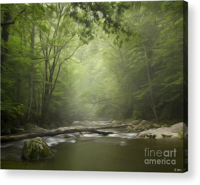Smokey Mountain Art Acrylic Print featuring the digital art The Middle Prong River In Fog by Smokey Mountain Art