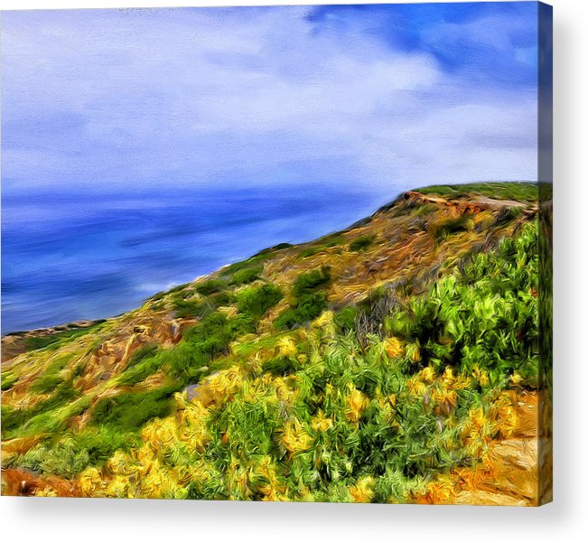 Wildflowers Acrylic Print featuring the painting Wildflowers At Point Loma by Dominic Piperata