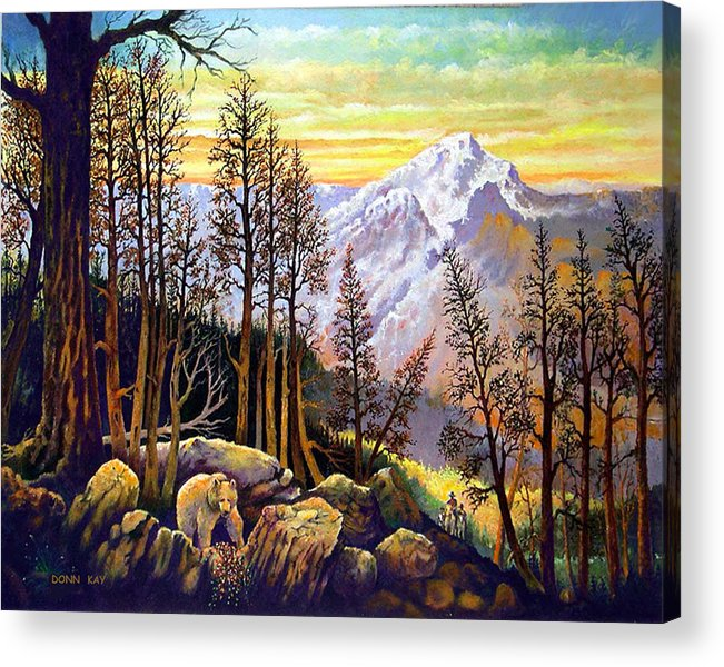 Colorado New Mexico Texas Cowboy Giclee Prints Bears Mountains Horses Southwest Landscape Acrylic Print featuring the painting Bear Berries And Riders by Donn Kay