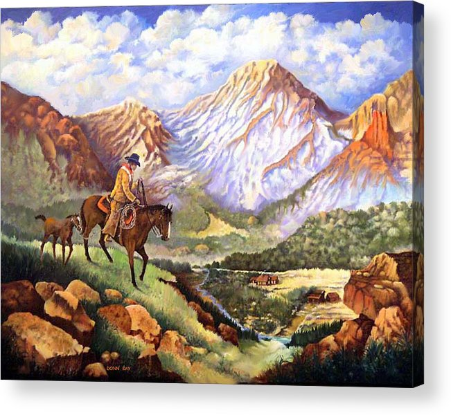 Mountains Cowboys Horses Foal Snow Colorado New Mexico Acrylic Print featuring the painting New Family Member by Donn Kay